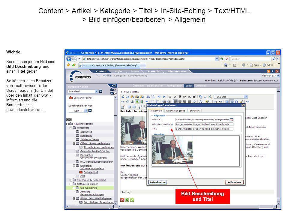 Content > Artikel > Kategorie > Titel > In-Site-Editing > Text/HTML > Bild einfügen/bearbeiten > Allgemein