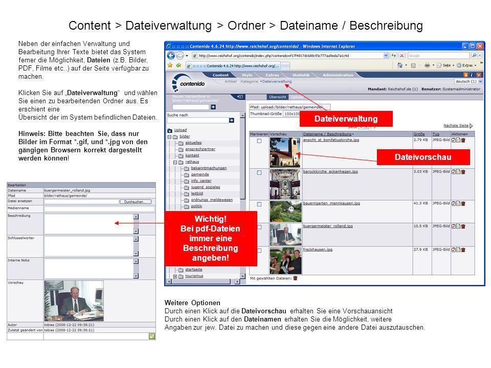 Content > Dateiverwaltung > Ordner > Dateiname / Beschreibung