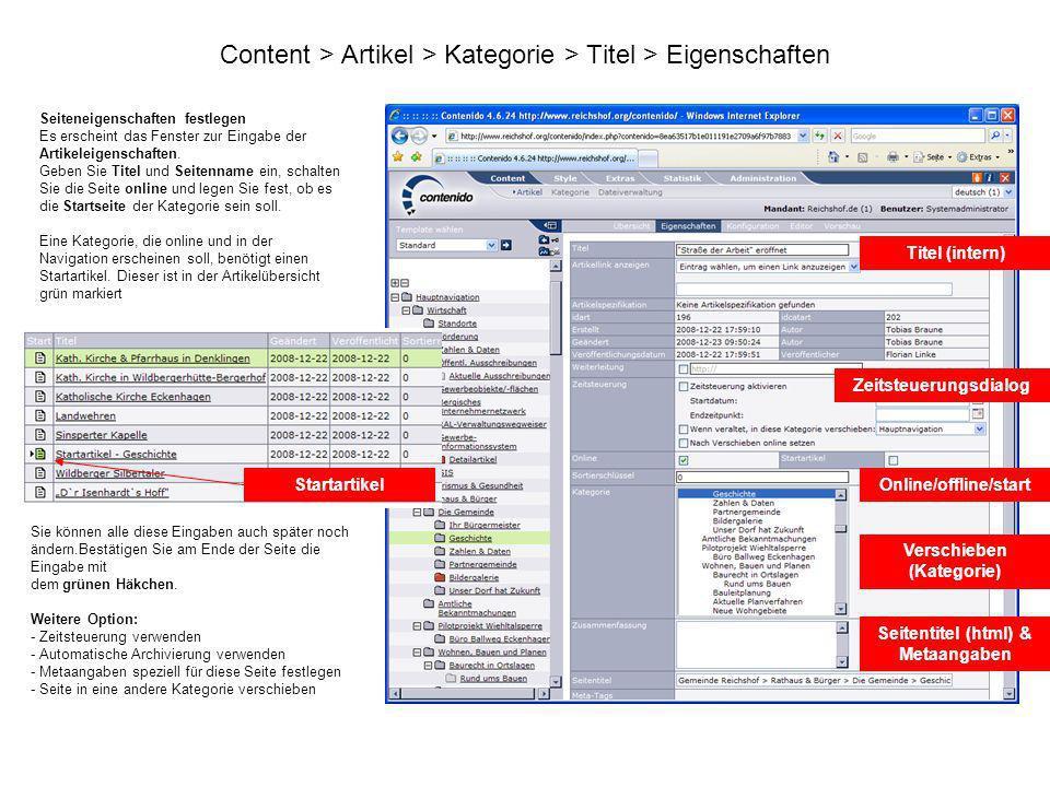 Content > Artikel > Kategorie > Titel > Eigenschaften