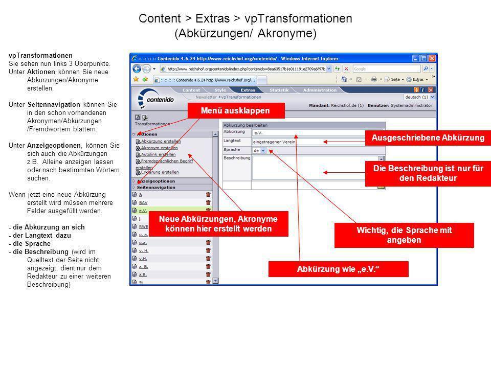 Content > Extras > vpTransformationen (Abkürzungen/ Akronyme)