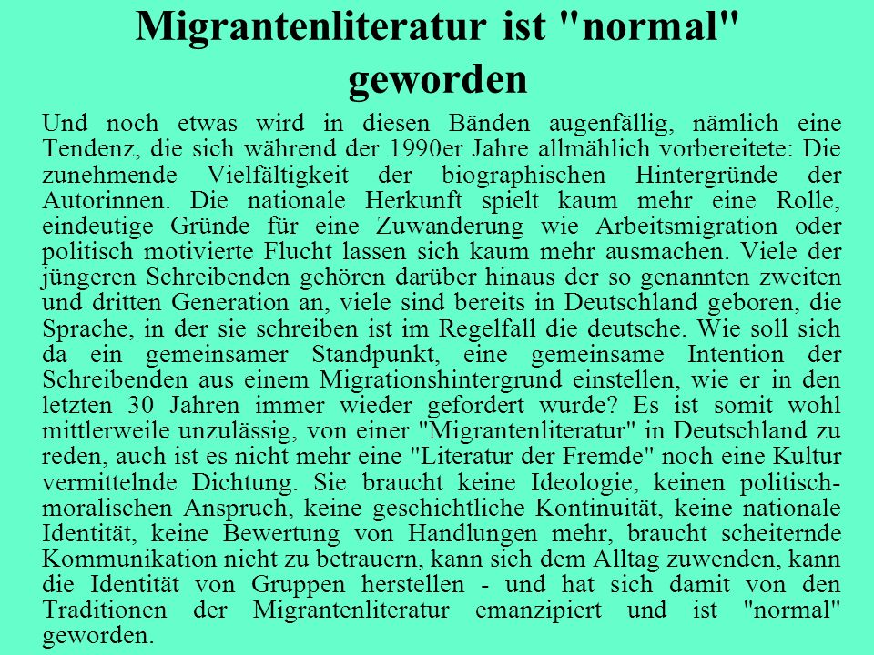 Migrantenliteratur ist normal geworden