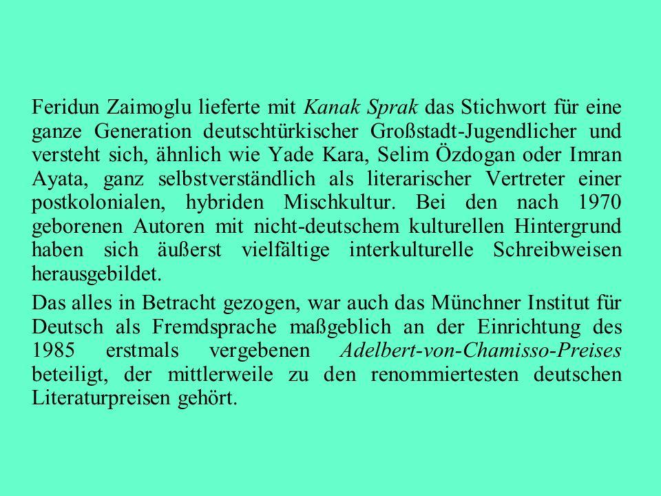 Feridun Zaimoglu lieferte mit Kanak Sprak das Stichwort für eine ganze Generation deutschtürkischer Großstadt-Jugendlicher und versteht sich, ähnlich wie Yade Kara, Selim Özdogan oder Imran Ayata, ganz selbstverständlich als literarischer Vertreter einer postkolonialen, hybriden Mischkultur. Bei den nach 1970 geborenen Autoren mit nicht-deutschem kulturellen Hintergrund haben sich äußerst vielfältige interkulturelle Schreibweisen herausgebildet.