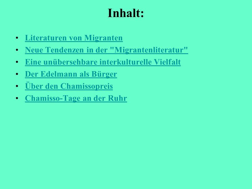 Inhalt: Literaturen von Migranten