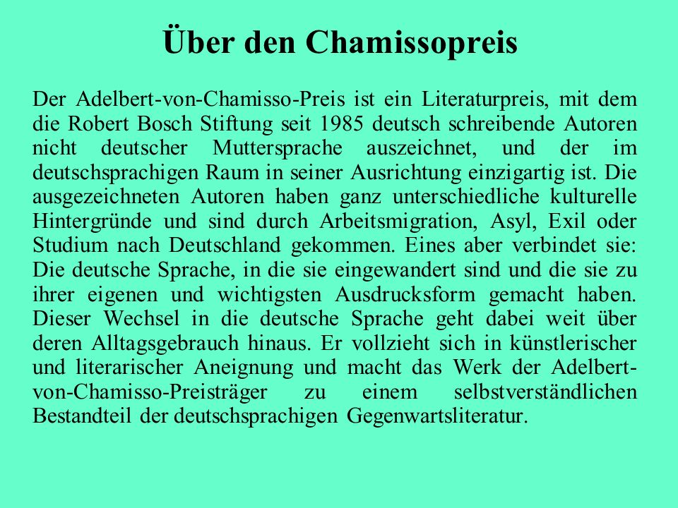 Über den Chamissopreis