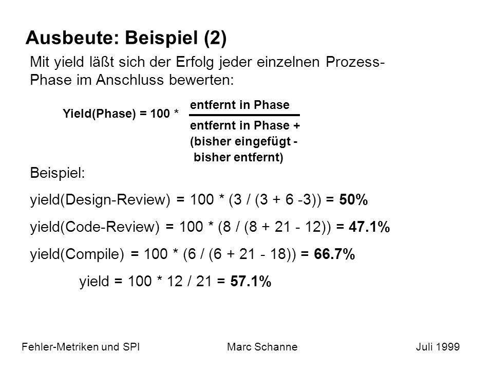 Ausbeute: Beispiel (2) Mit yield läßt sich der Erfolg jeder einzelnen Prozess-Phase im Anschluss bewerten: