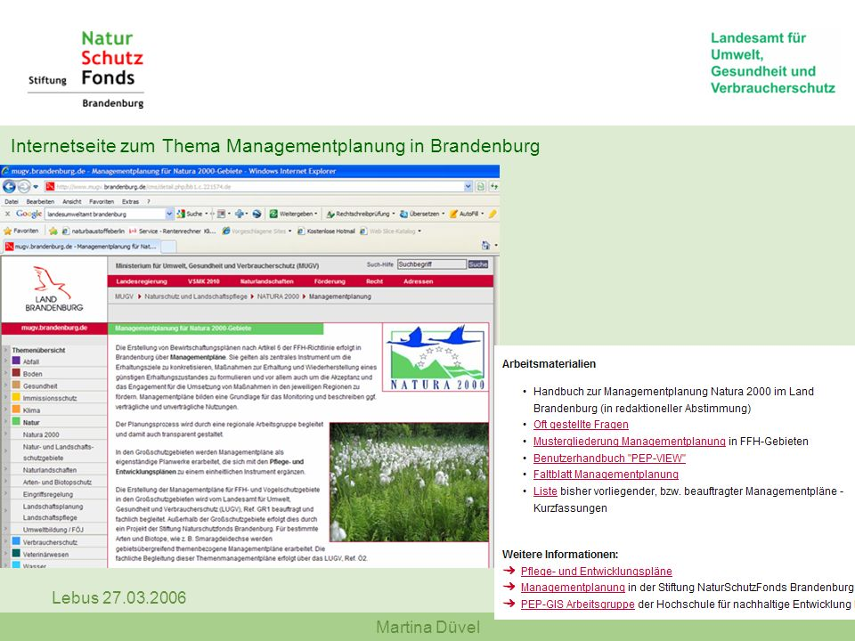 Internetseite zum Thema Managementplanung in Brandenburg
