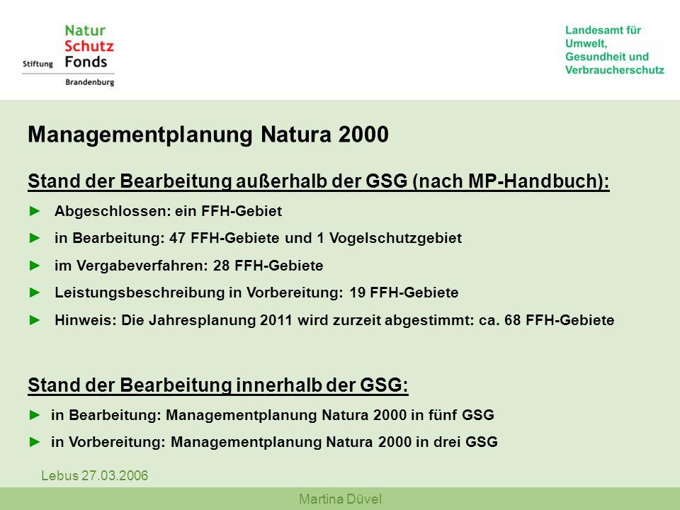 Managementplanung Natura 2000 Stand der Bearbeitung außerhalb der GSG (nach MP-Handbuch):