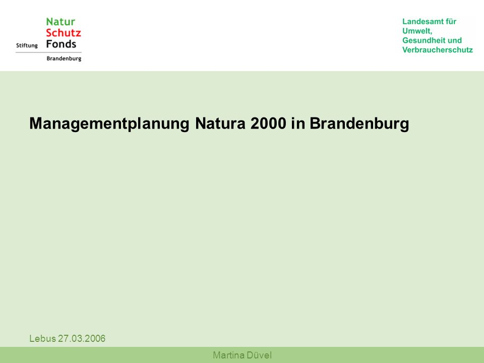 Managementplanung Natura 2000 in Brandenburg