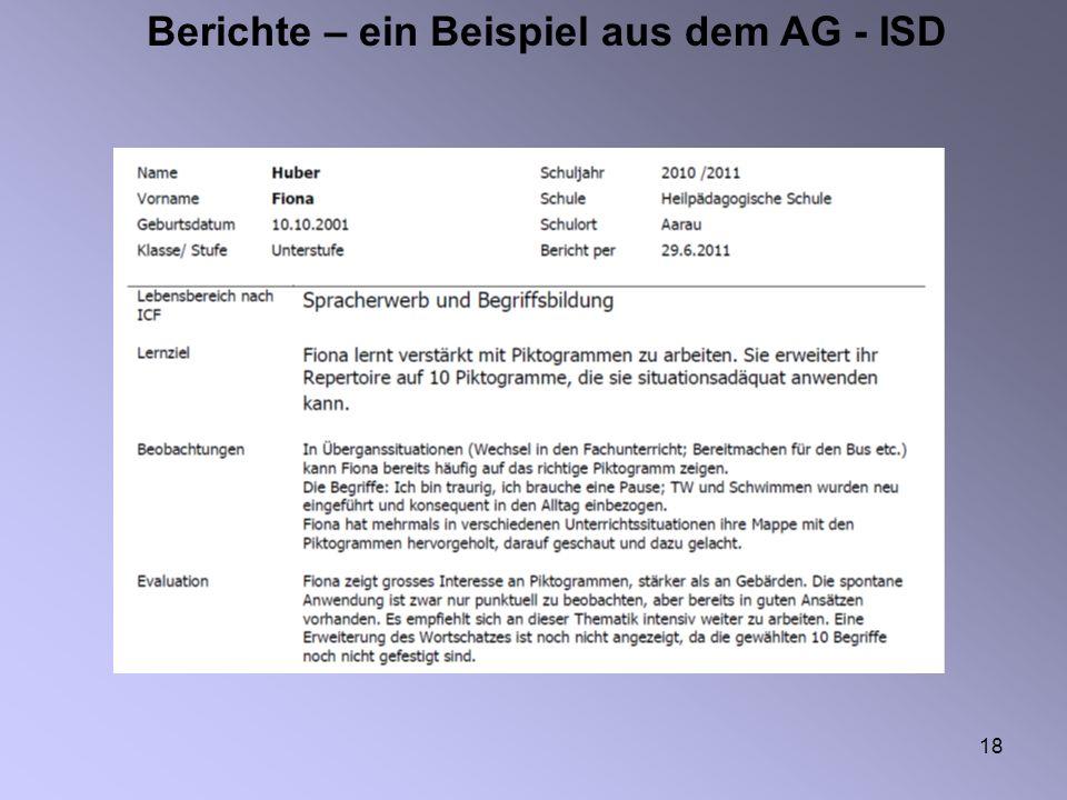 Berichte – ein Beispiel aus dem AG - ISD