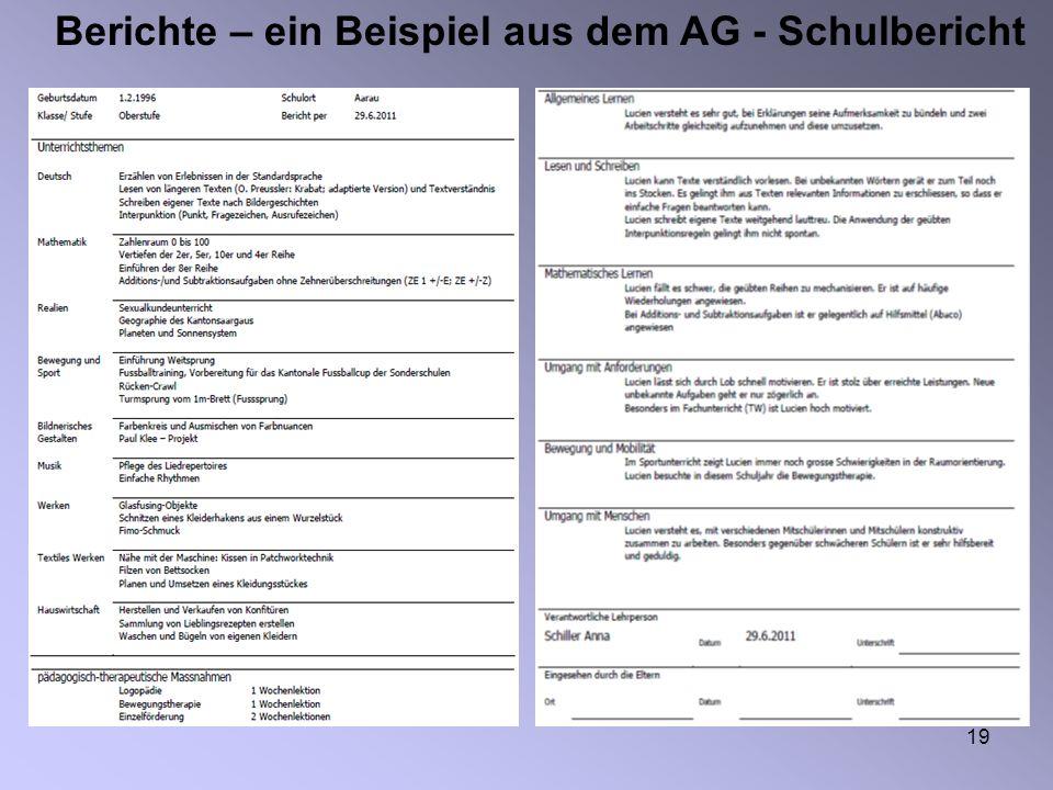 Berichte – ein Beispiel aus dem AG - Schulbericht