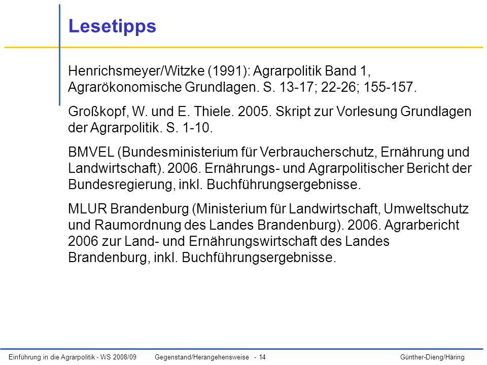 Lesetipps Henrichsmeyer/Witzke (1991): Agrarpolitik Band 1, Agrarökonomische Grundlagen. S. 13-17; 22-26; 155-157.