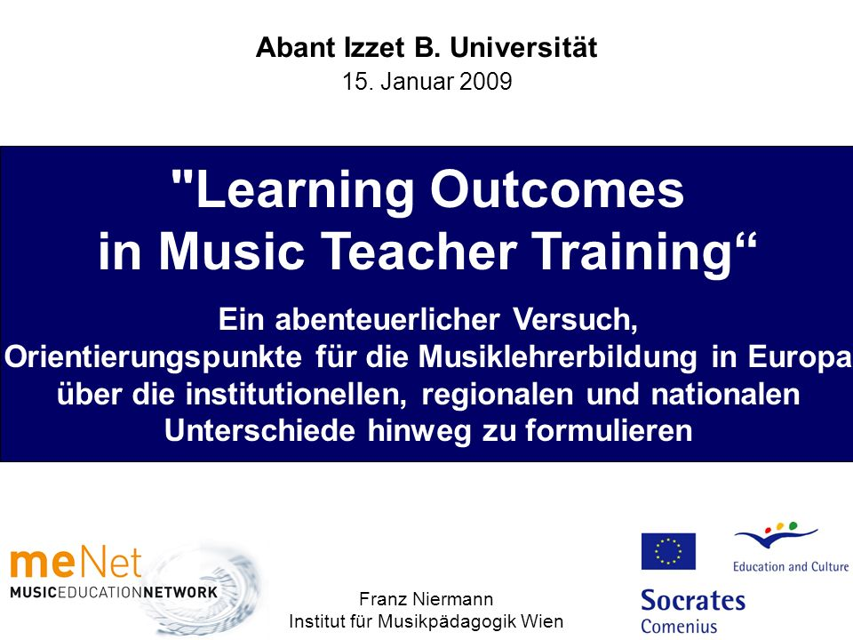 Learning Outcomes in Music Teacher Training
