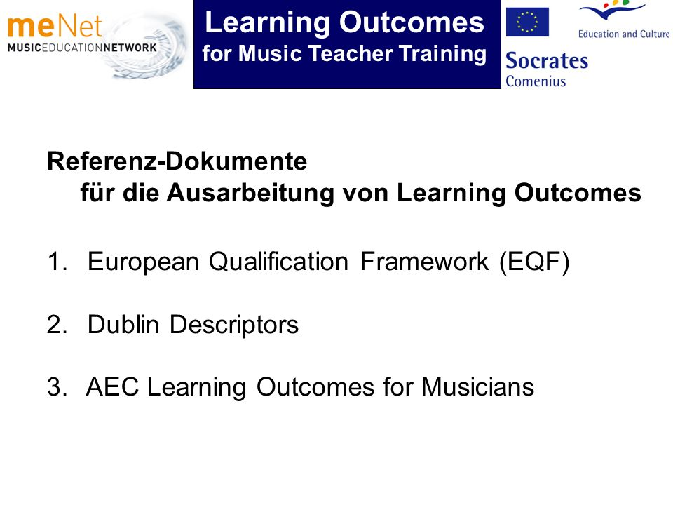 Learning Outcomes for Music Teacher Training