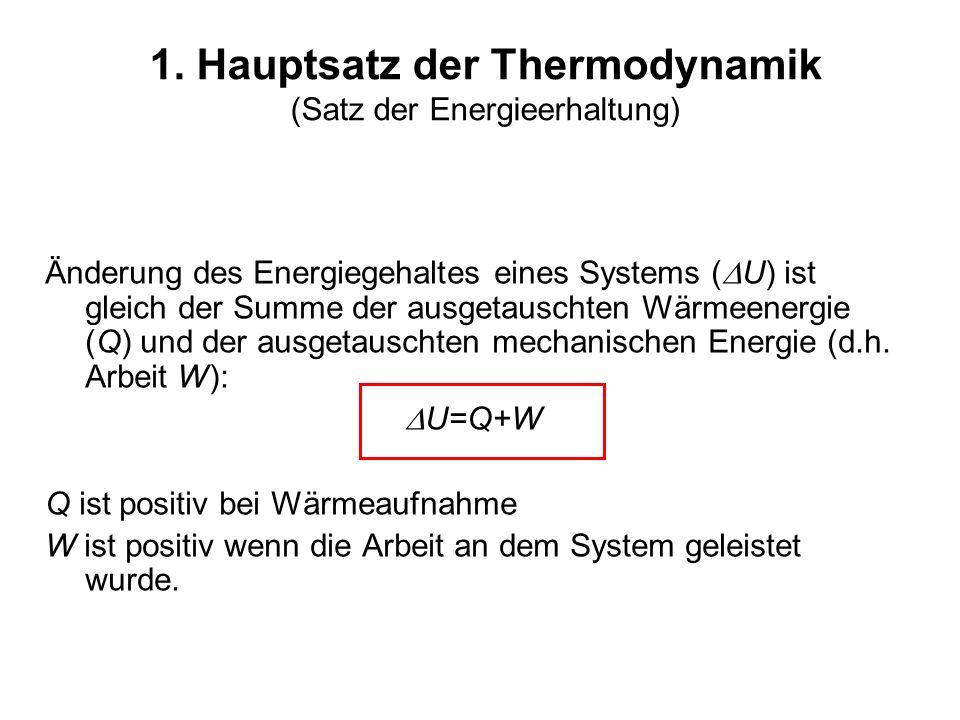 1. Hauptsatz der Thermodynamik (Satz der Energieerhaltung)