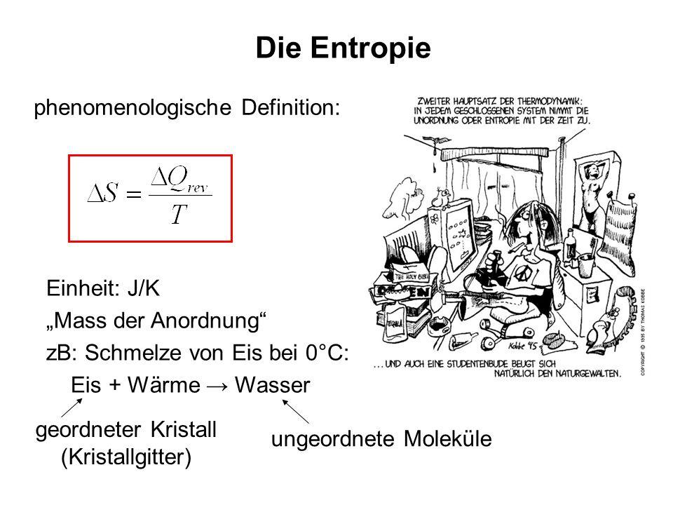 Die Entropie phenomenologische Definition: Einheit: J/K