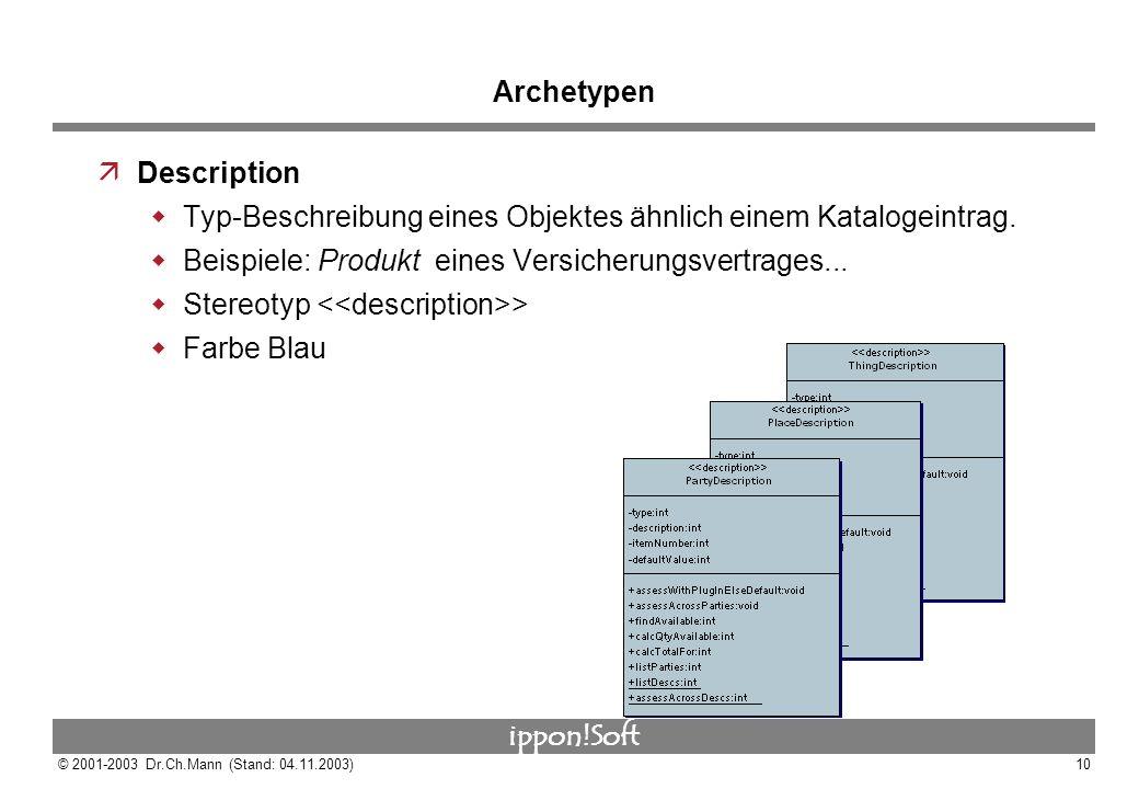 Archetypen Description. Typ-Beschreibung eines Objektes ähnlich einem Katalogeintrag. Beispiele: Produkt eines Versicherungsvertrages...