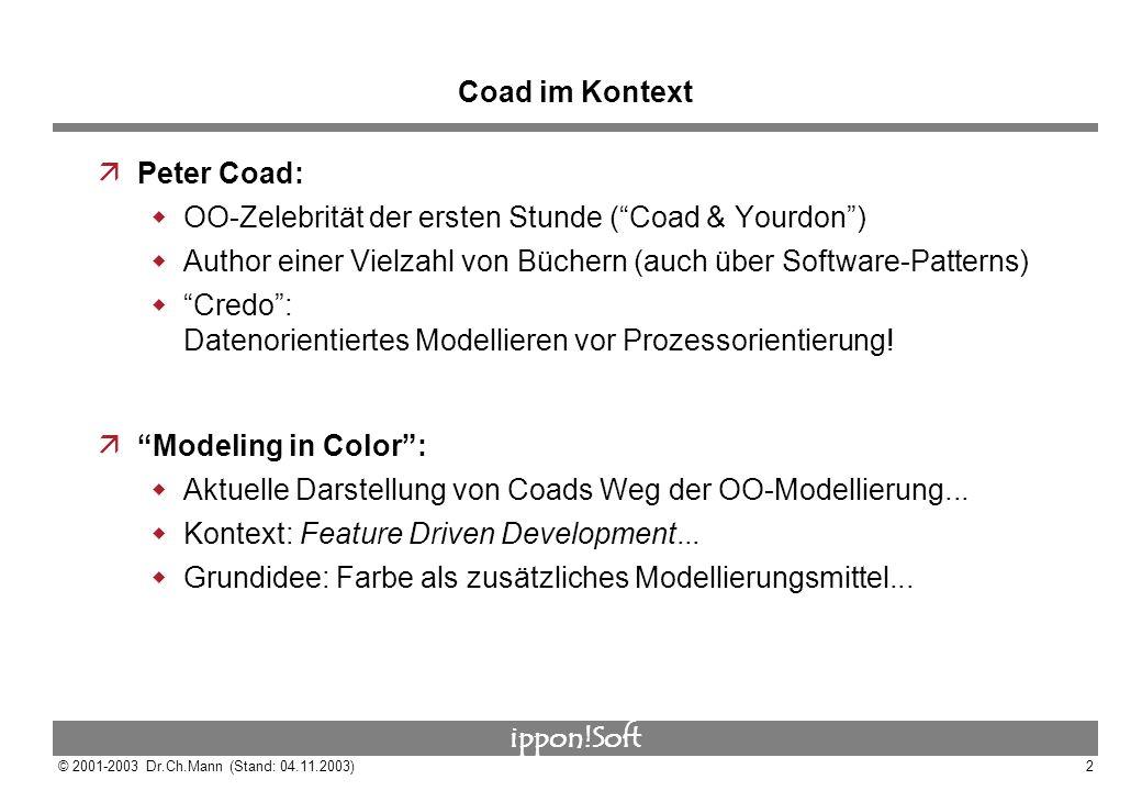 Coad im Kontext Peter Coad: OO-Zelebrität der ersten Stunde ( Coad & Yourdon ) Author einer Vielzahl von Büchern (auch über Software-Patterns)