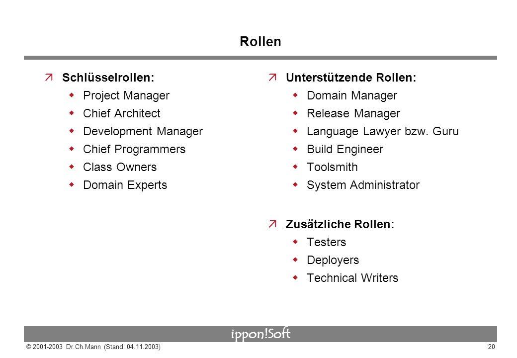 Rollen Schlüsselrollen: Project Manager Chief Architect