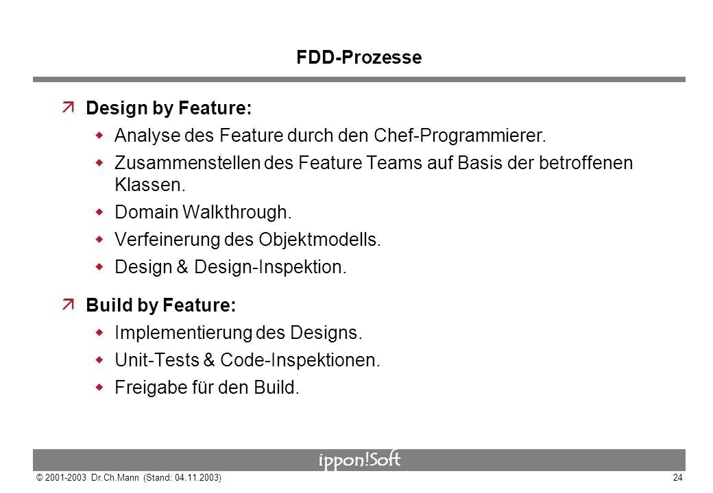 FDD-Prozesse Design by Feature: Analyse des Feature durch den Chef-Programmierer.