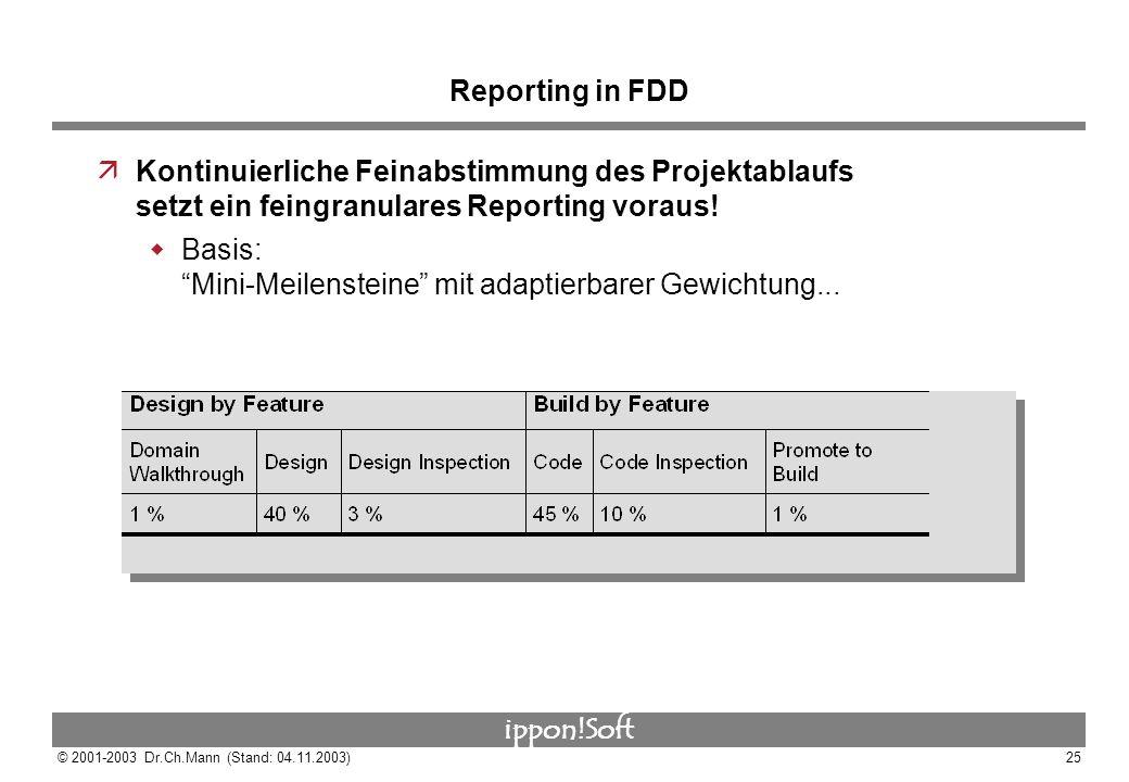 Reporting in FDD Kontinuierliche Feinabstimmung des Projektablaufs setzt ein feingranulares Reporting voraus!