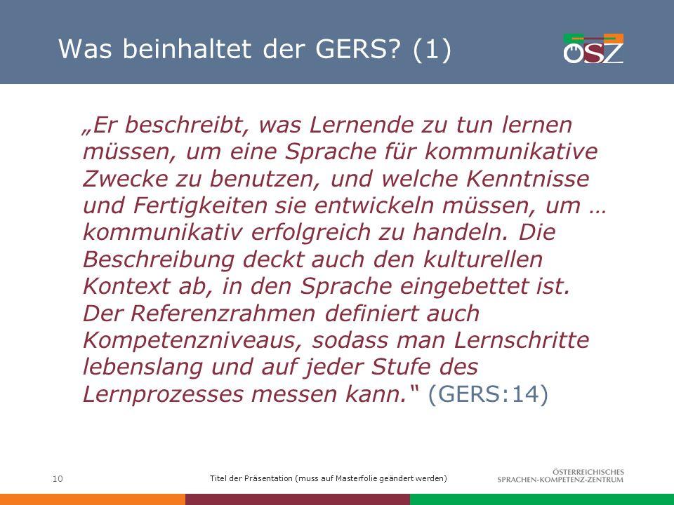 Was beinhaltet der GERS (1)