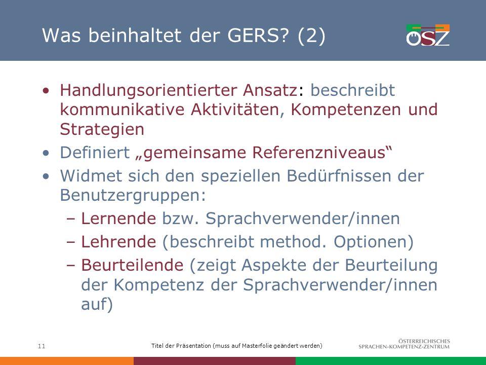 Was beinhaltet der GERS (2)