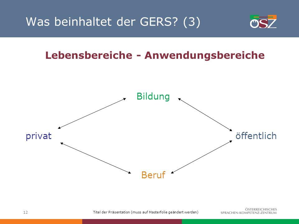 Was beinhaltet der GERS (3)