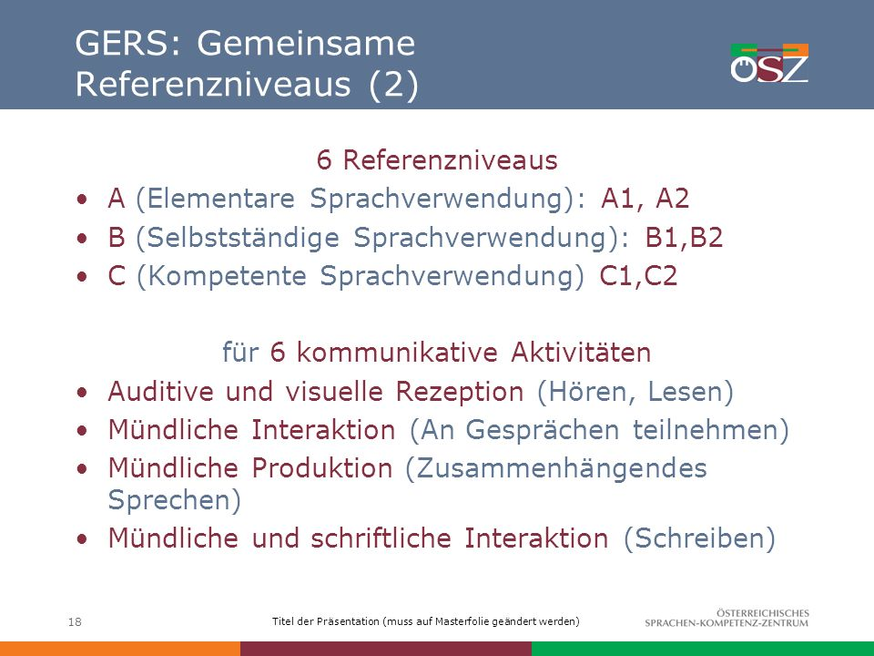 GERS: Gemeinsame Referenzniveaus (2)