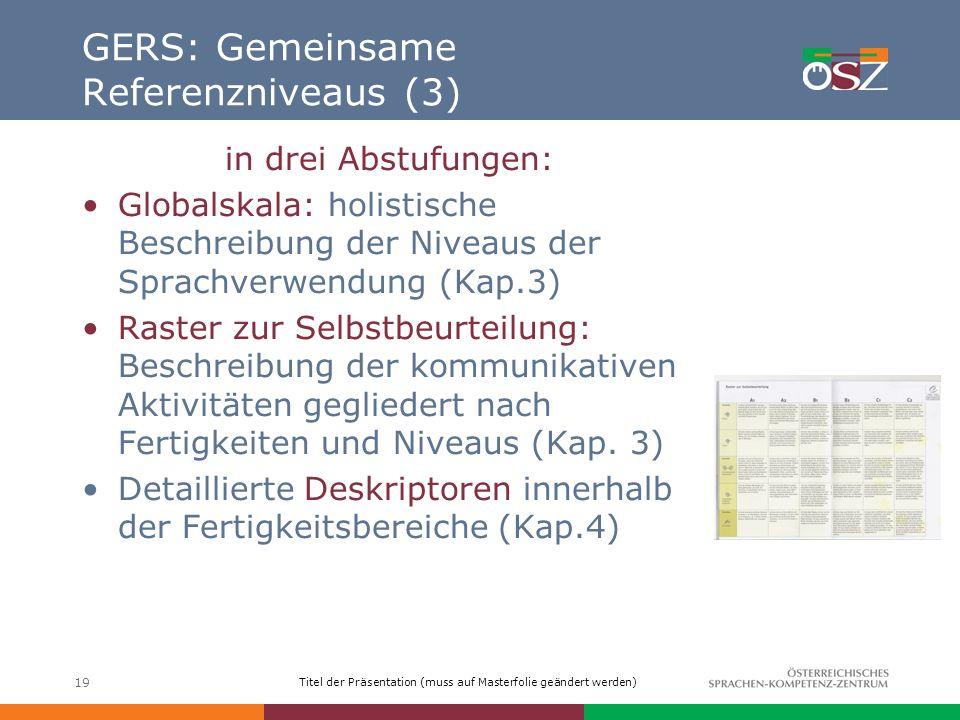 GERS: Gemeinsame Referenzniveaus (3)