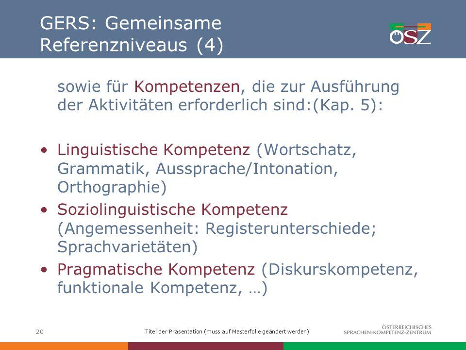 GERS: Gemeinsame Referenzniveaus (4)