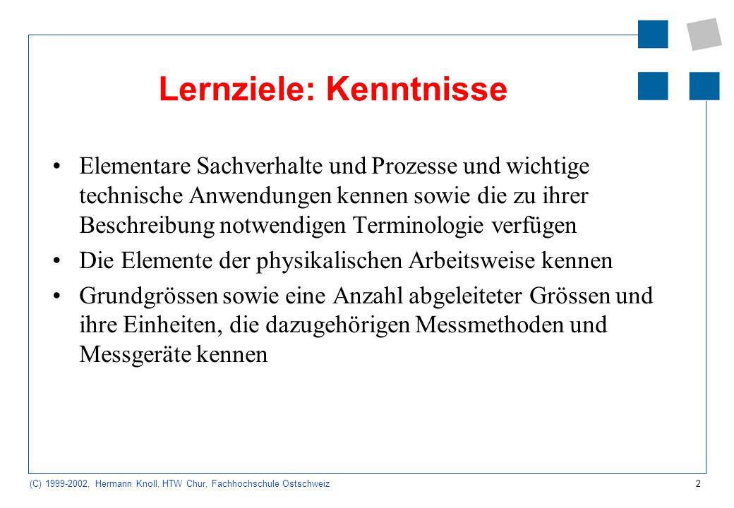Lernziele: Kenntnisse