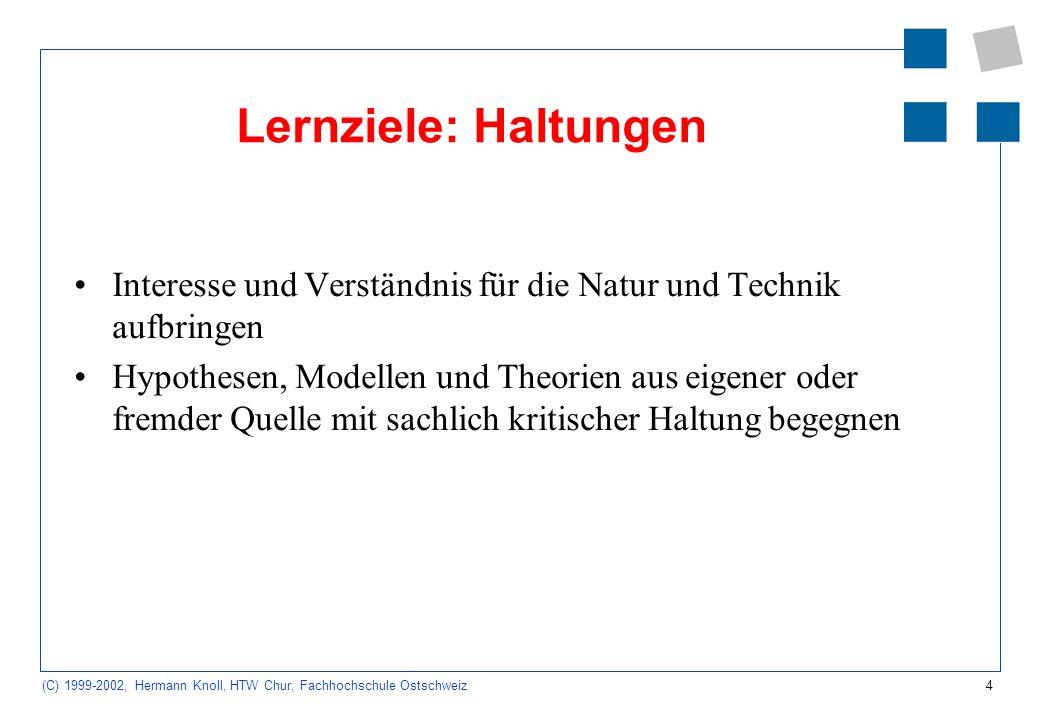 Lernziele: Haltungen Interesse und Verständnis für die Natur und Technik aufbringen.