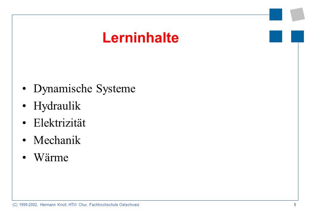 Lerninhalte Dynamische Systeme Hydraulik Elektrizität Mechanik Wärme 2
