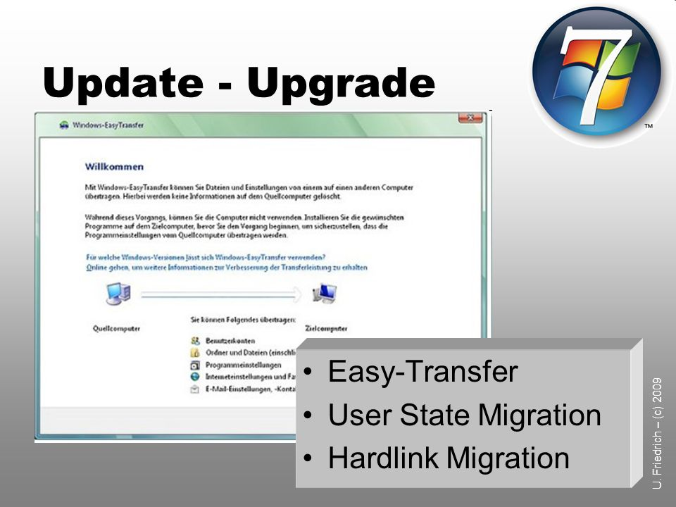 Update - Upgrade Easy-Transfer User State Migration Hardlink Migration