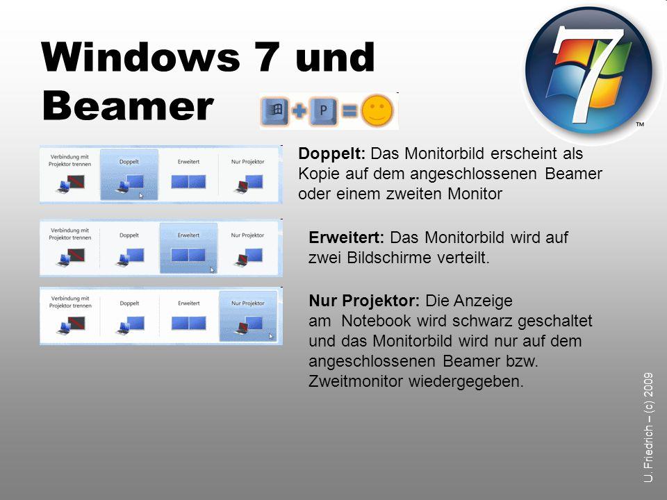 Windows 7 und Beamer Doppelt: Das Monitorbild erscheint als Kopie auf dem angeschlossenen Beamer oder einem zweiten Monitor.