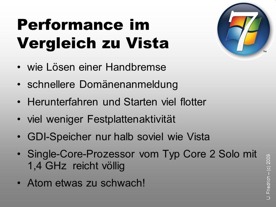 Performance im Vergleich zu Vista