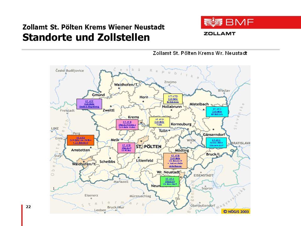 Zollamt St. Pölten Krems Wiener Neustadt Standorte und Zollstellen