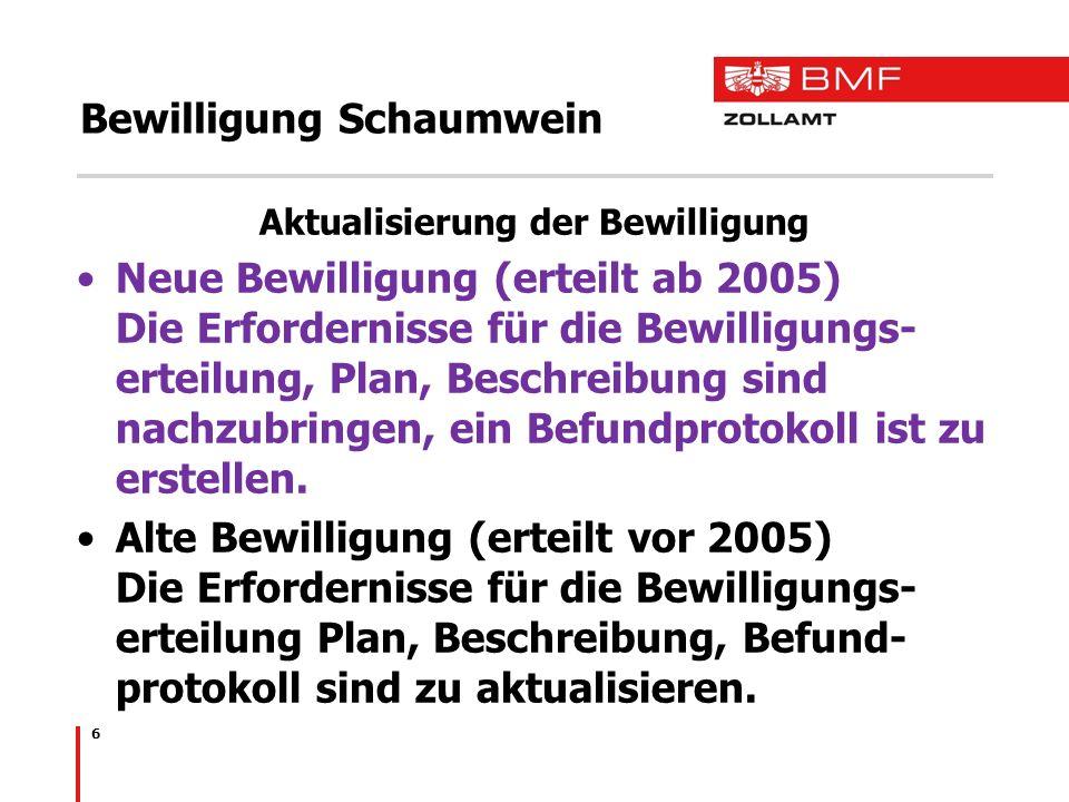 Bewilligung Schaumwein