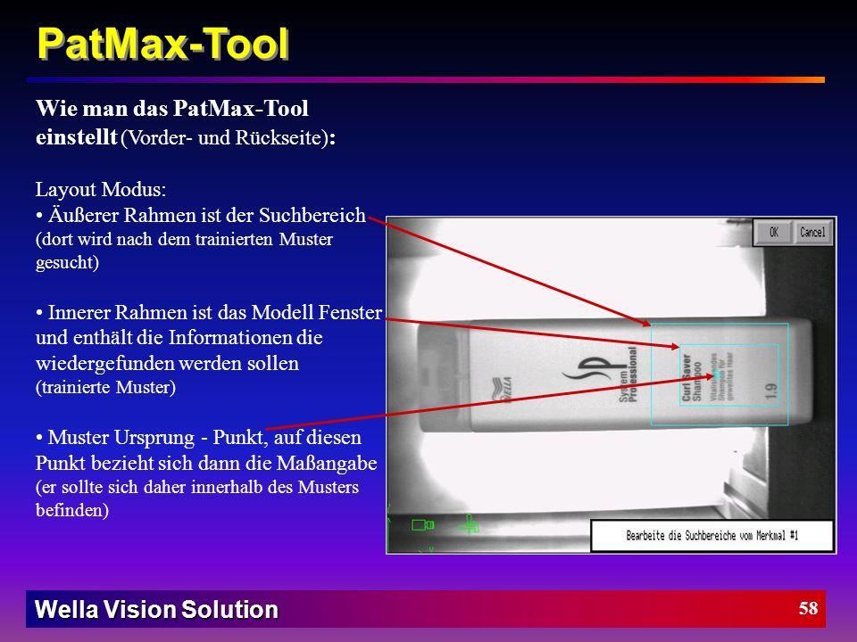 PatMax-Tool Wie man das PatMax-Tool einstellt (Vorder- und Rückseite):