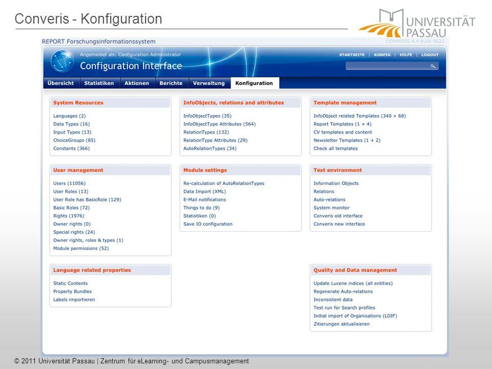 Converis - Konfiguration