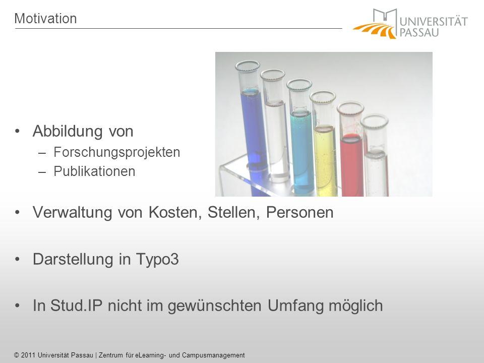 Verwaltung von Kosten, Stellen, Personen Darstellung in Typo3