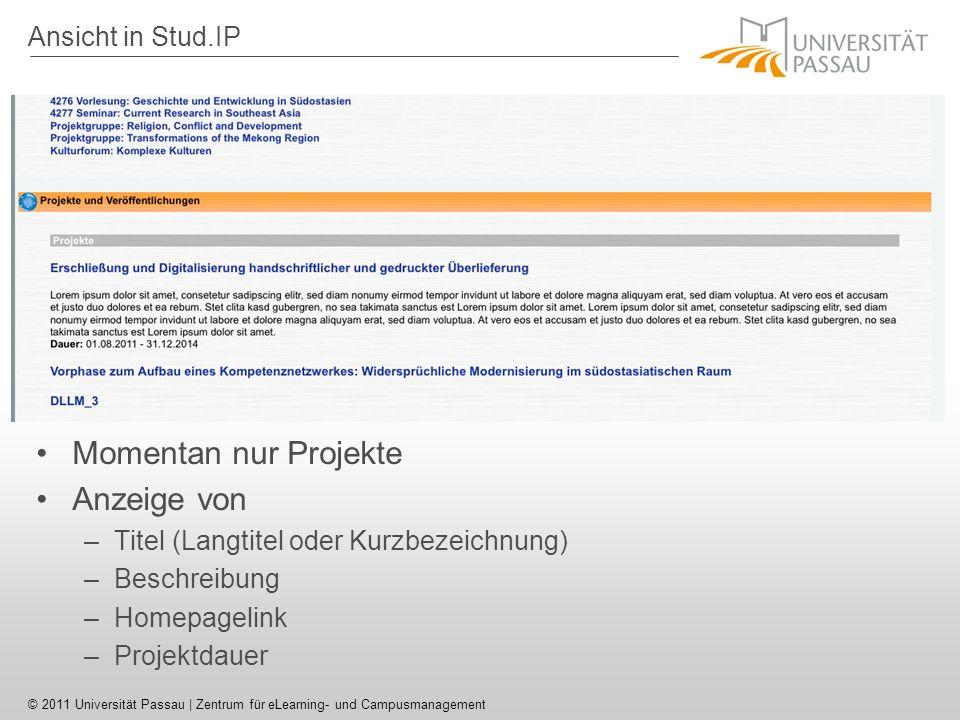 Momentan nur Projekte Anzeige von Ansicht in Stud.IP