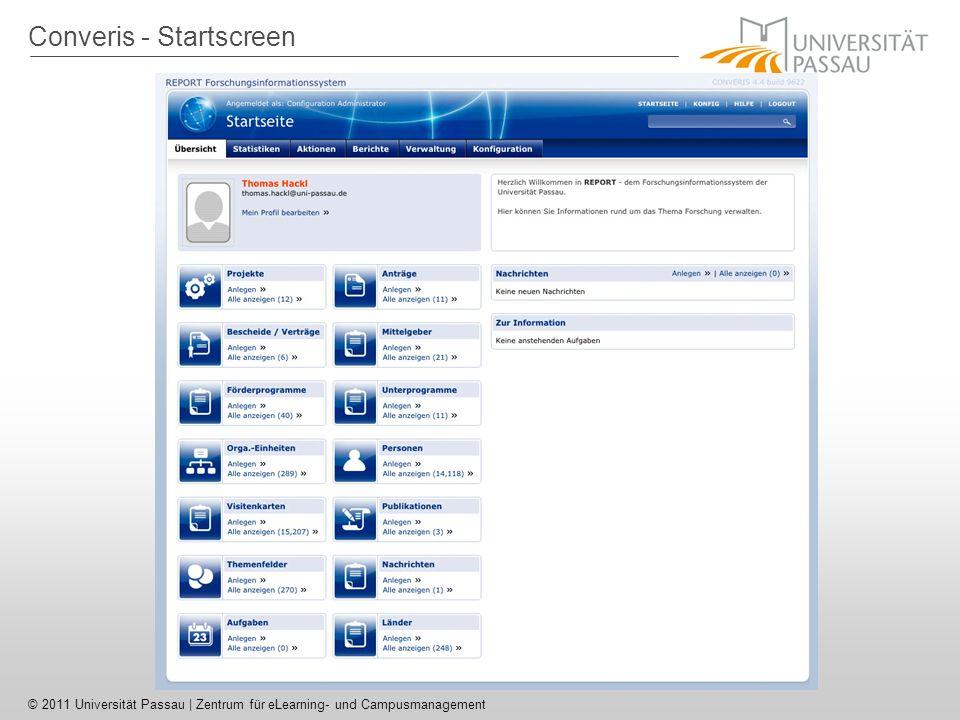 Converis - Startscreen