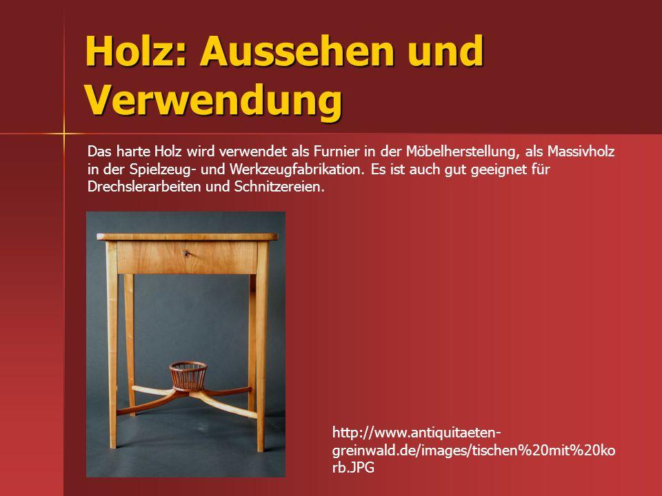 Holz: Aussehen und Verwendung
