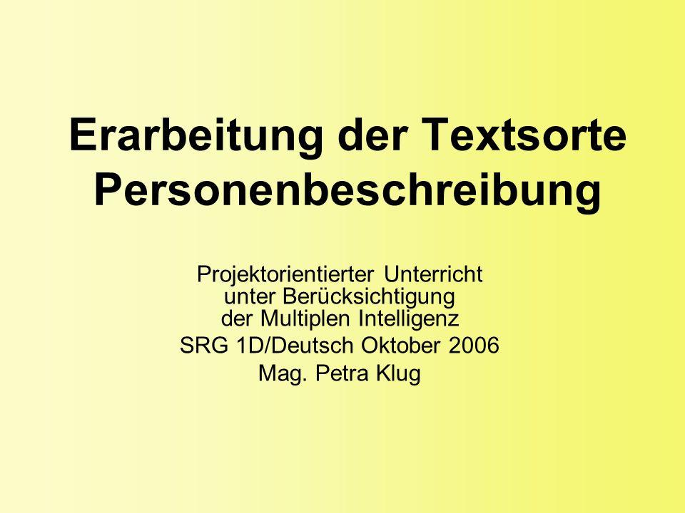 Erarbeitung der Textsorte Personenbeschreibung