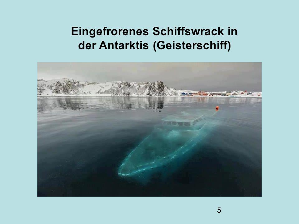 Eingefrorenes Schiffswrack in der Antarktis (Geisterschiff)