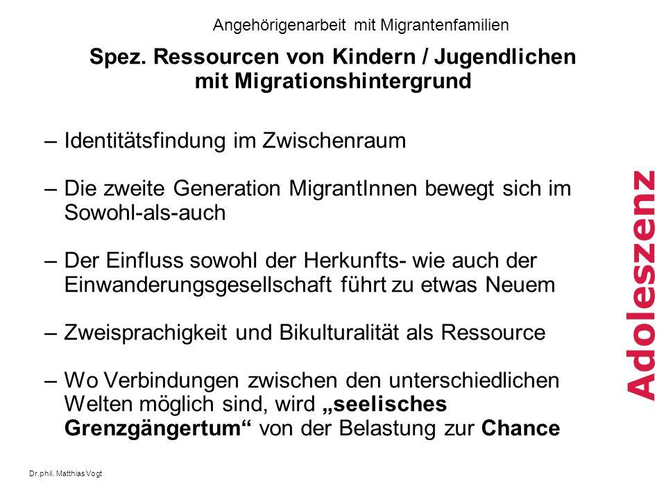Spez. Ressourcen von Kindern / Jugendlichen mit Migrationshintergrund
