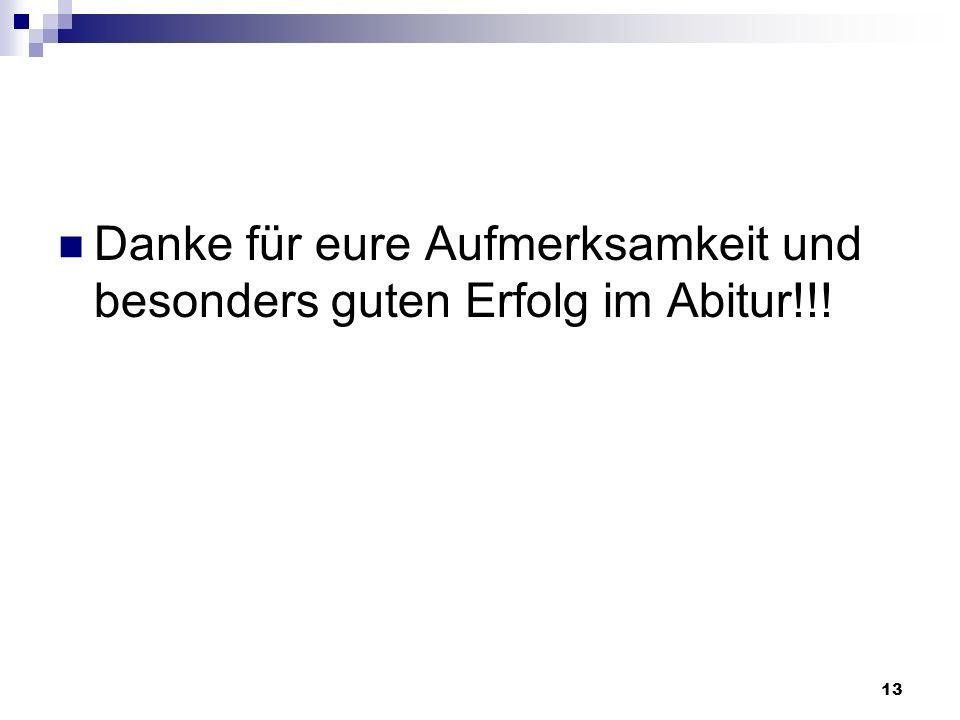 Danke für eure Aufmerksamkeit und besonders guten Erfolg im Abitur!!!