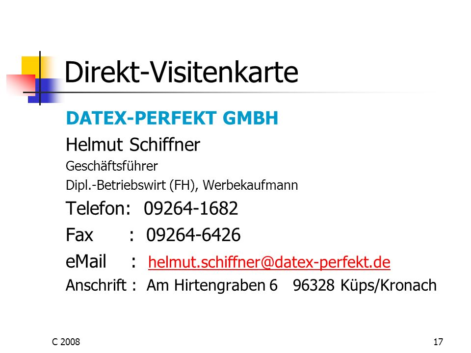 Direkt-Visitenkarte DATEX-PERFEKT GMBH Helmut Schiffner