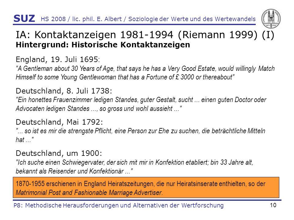 IA: Kontaktanzeigen 1981-1994 (Riemann 1999) (I)